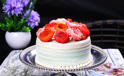 韩式豆沙裱花蛋糕